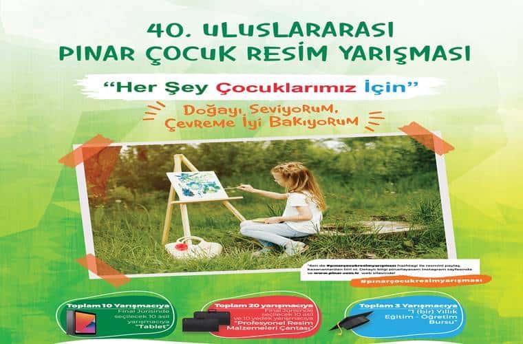 Uluslararası Pınar Çocuk Resim Yarışması duyuru görselidir.
