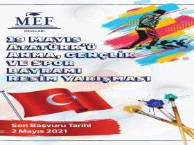 19 Mayıs Atatürk'ü Anma Gençlik ve Spor Bayramı Resim Yarışması duyuru görselidir.