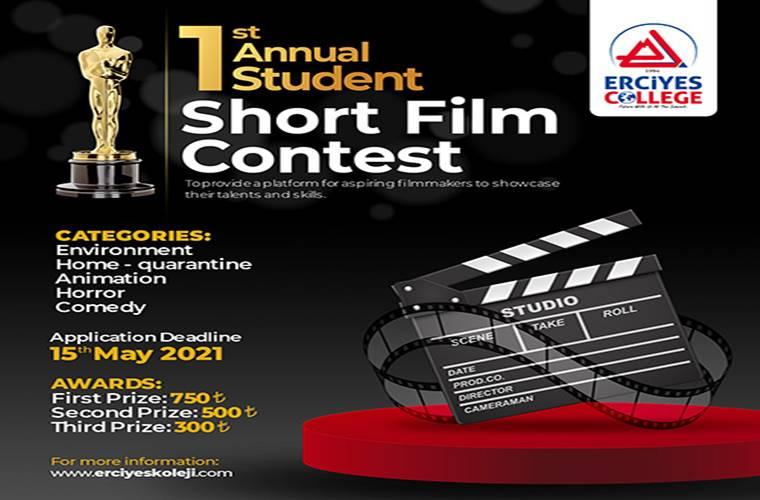 Erciyes Koleji Kısa Film Yarışması duyuru görselidir.