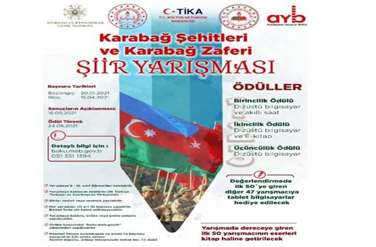 Karabağ Şehitleri ve Karabağ Zaferi Şiir Yarışması duyuru görselidir.