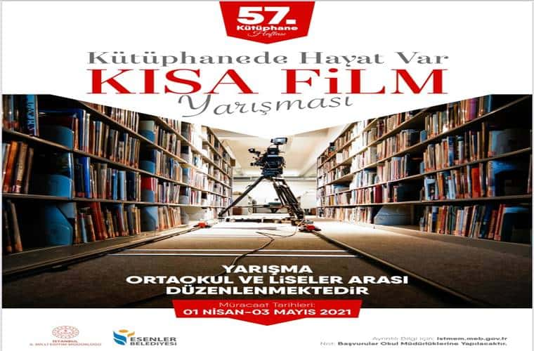 Kütüphaneler Haftası Kısa Film Yarışması duyuru görselidir.