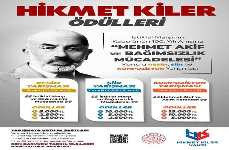 Mehmet Akif ve Bağımsızlık Mücadelesi Konulu Kompozisyon Yarışması duyuru görselidir.