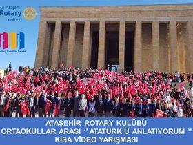 Ortaokullar Arası Atatürk'ü Anlatıyorum Kısa Video Yarışması duyuru görselidir.