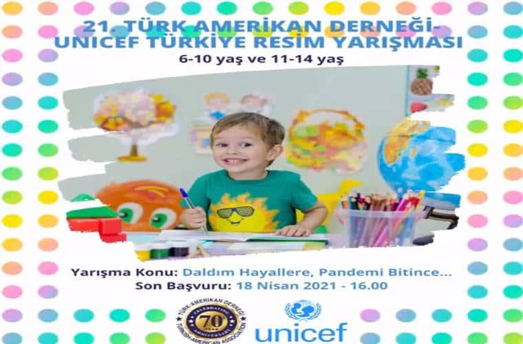 Türk Amerikan Derneği UNICEF 23 Nisan Çocuk Resim Yarışması duyuru görselidir.