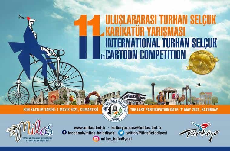 Uluslararası Turhan Selçuk Karikatür Yarışması duyuru görselidir.