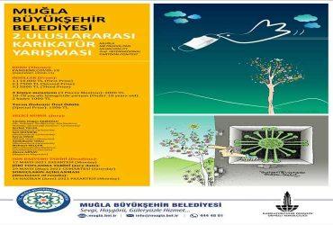 Muğla Büyükşehir Belediyesi Uluslararası Karikatür Yarışması duyuru görselidir.