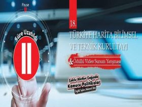 Türkiye Harita Bilimsel ve Teknik Kurultayı Kısa Sunulu Video Hazırlama Yarışması duyuru görselidir.